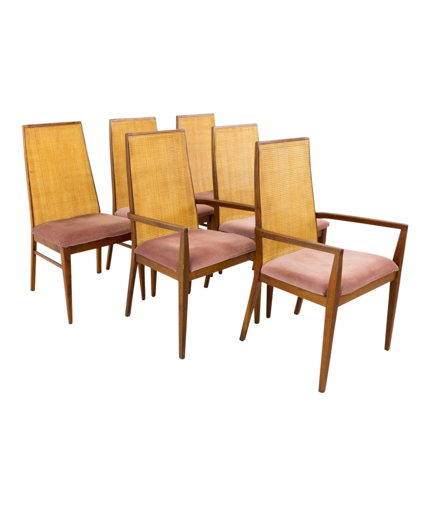 Dillingham Esprit Mid Century Caned Dining Chairs Set of 6