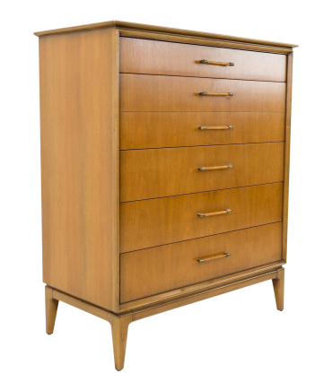 Century Mid Century Highboy Dresser with Caned Handles