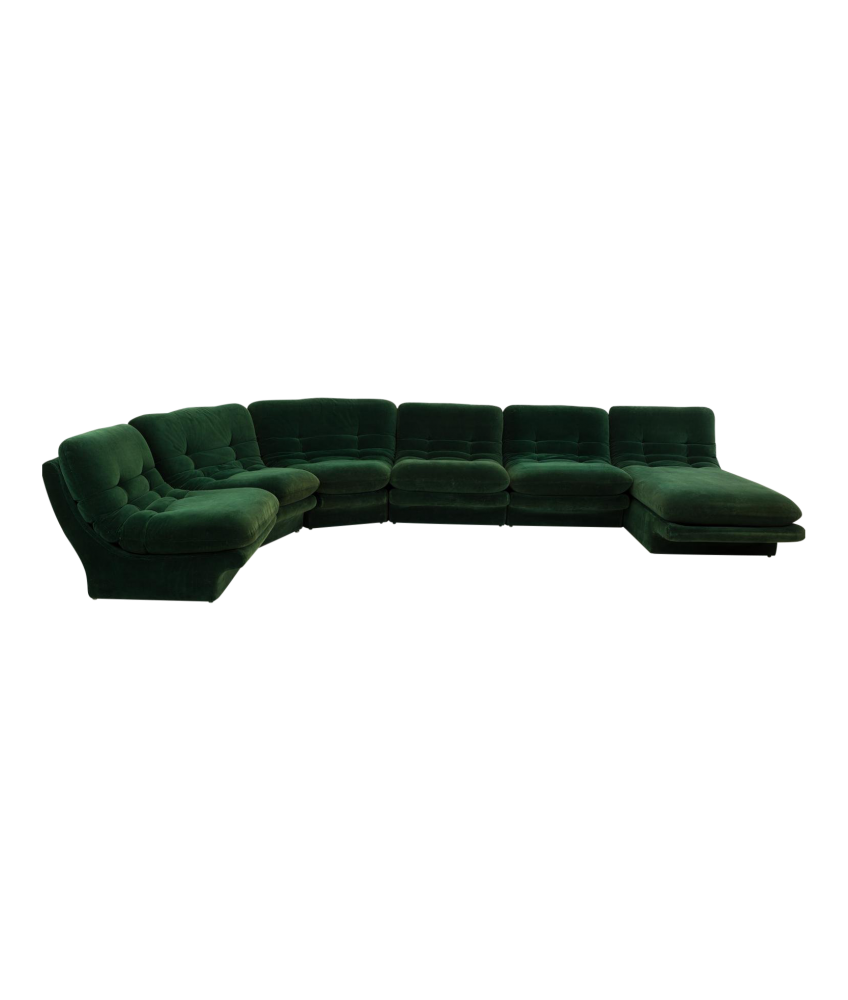 Vladimir Kagen for Preview Hunter Green Velvet Mid Century Modern Sectional Sofa