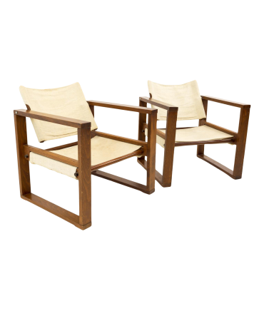 Mid Century Modern Swivel Back Sling Lounge Chairs