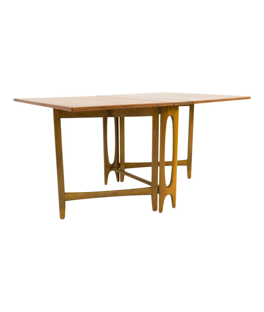Bruno Mathsson Style Teak Drop Side Leaf Expanding Mid Century Dining Table