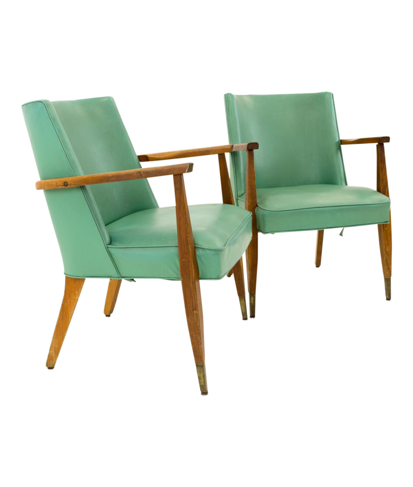 Kroehler Mid Century Modern Occasional Lounge Chairs - Pair