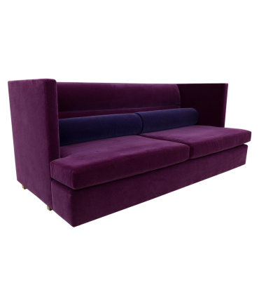 Milo Baughman Mid Century Modern Shelter Sofa in Purple Mohair Fabric