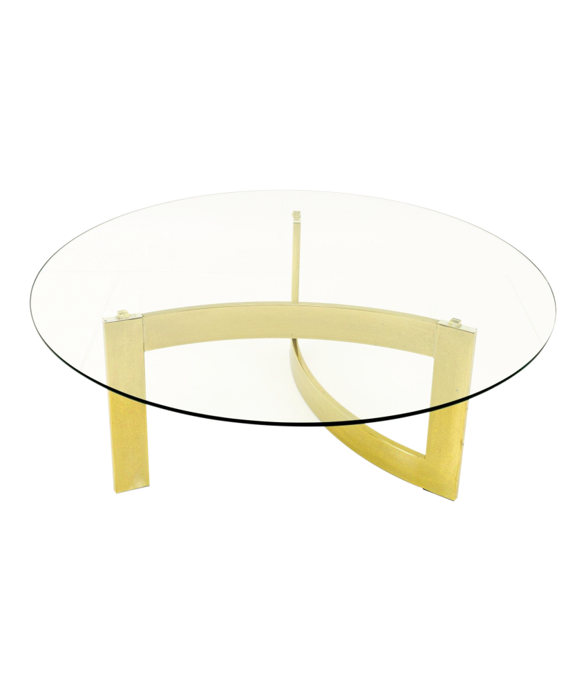 Milo Baughman Style Mid Century Modern Brass and Glass Coffee Table