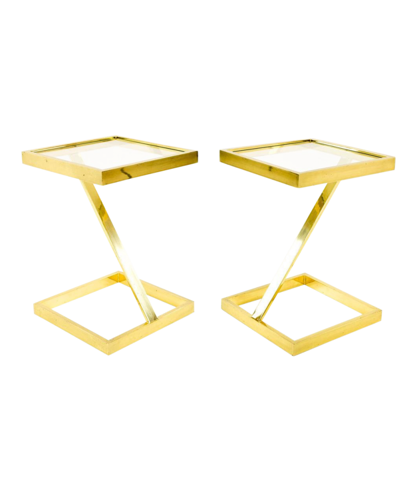 Milo Baughman Style Mid Century Modern Brass Z Side End Tables - Matching Pair