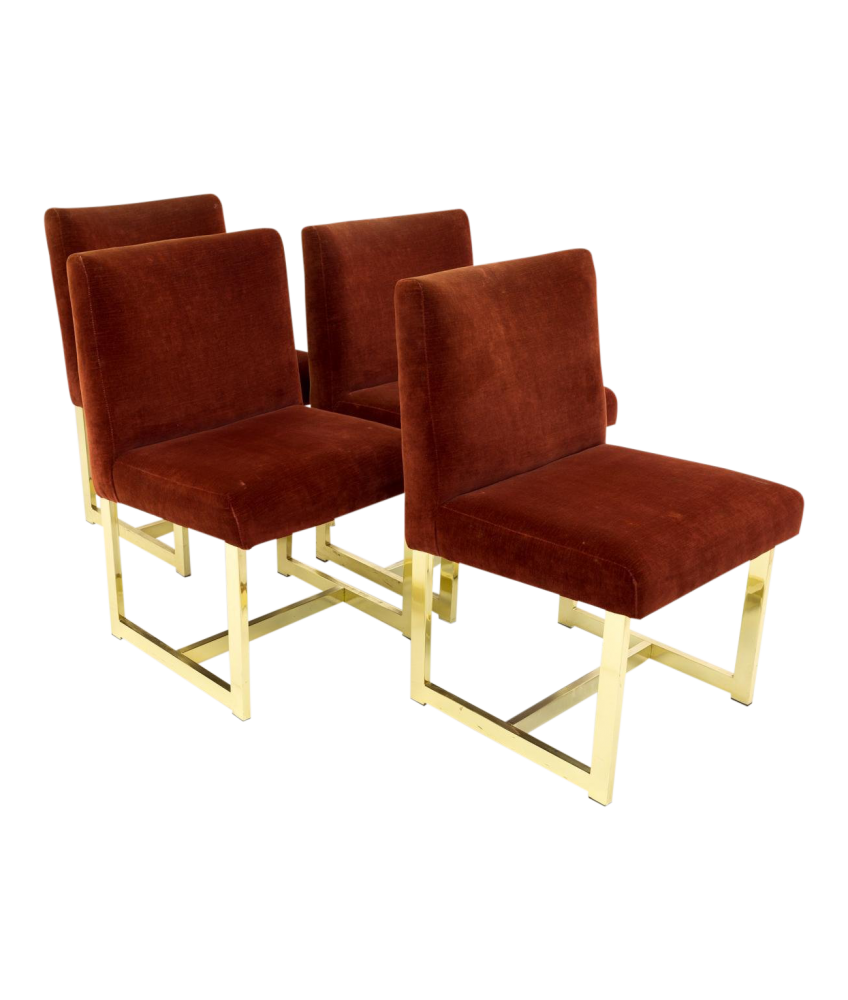 Milo Baughman Style Upholstered Brass Mid Century Modern Dining Chairs - Set of 4