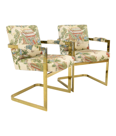 Milo Baughman Style Mid Century Captains Dining Occasional Chairs with Japanese Patterned Fabric