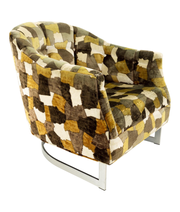 Milo Baughman Style Mid Century Upholstered Lounge Chair with Jack Lenore Larsen Style Cow Patterned Velvet
