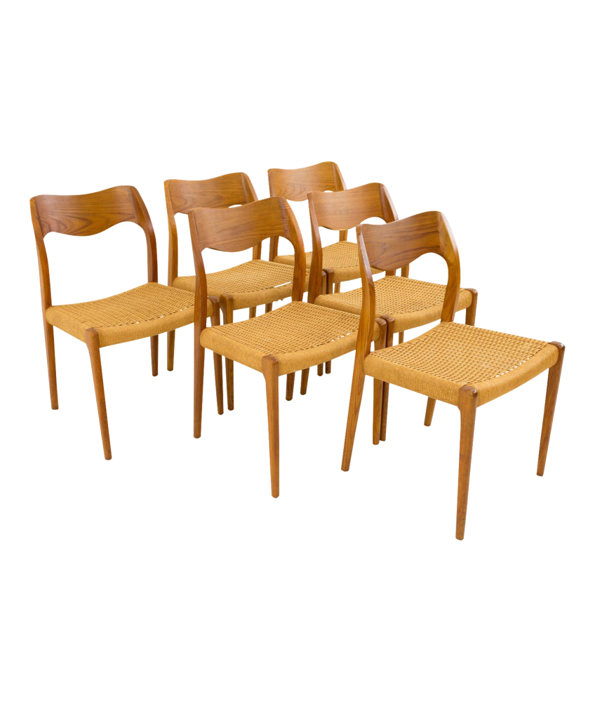 Niels Moller Danish Teak Caned Mid Century Modern Dining Chairs Number 71 - Set of 6