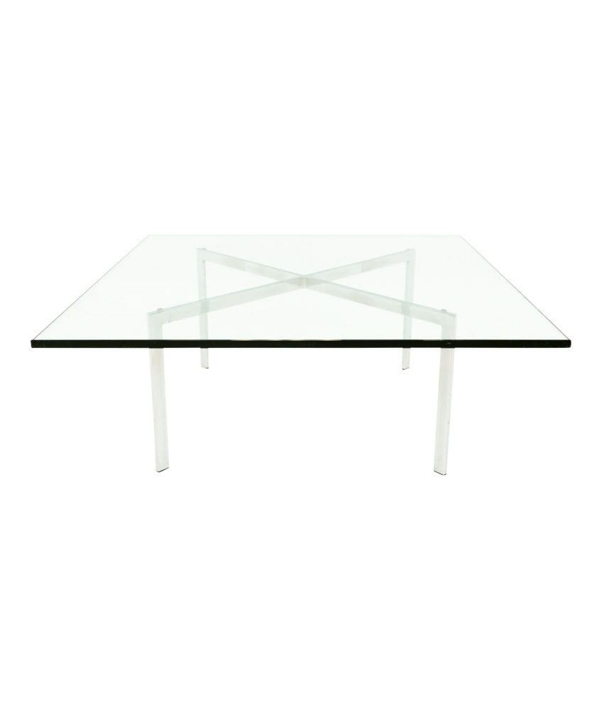 Mies Van Der Rowe Barcelona Style Square Glass Mid Century Coffee Table