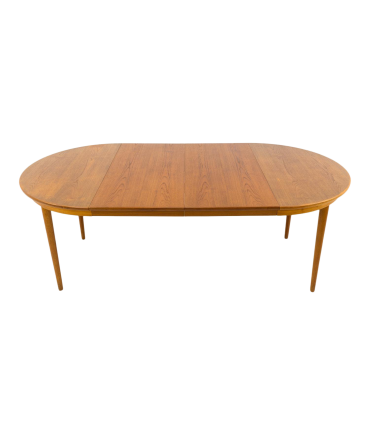 Skovmand and Andersen Danish Teak Round Mid Century Dining Table with 2 leaves