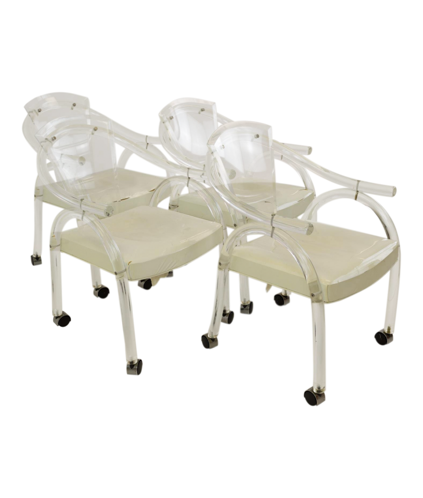 Charles Hollis Jones Style Mid Century Modern Lucite Rolling Chairs