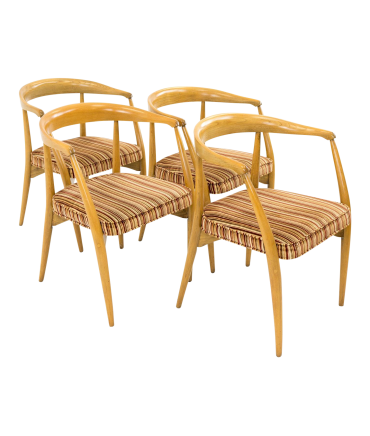 Lawrence Peabody for Nemschoff Mid Century Barrel Dining Chairs
