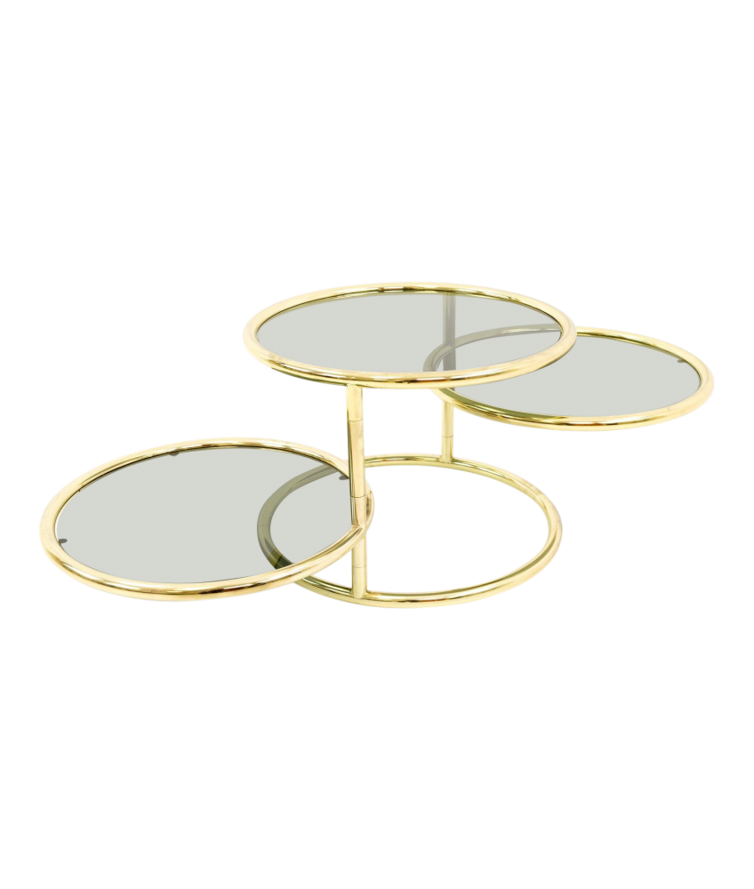 Milo Baughman for Design Institute of America Mid Century Modern Brass and Glass 3 Tier Circular Side End Table