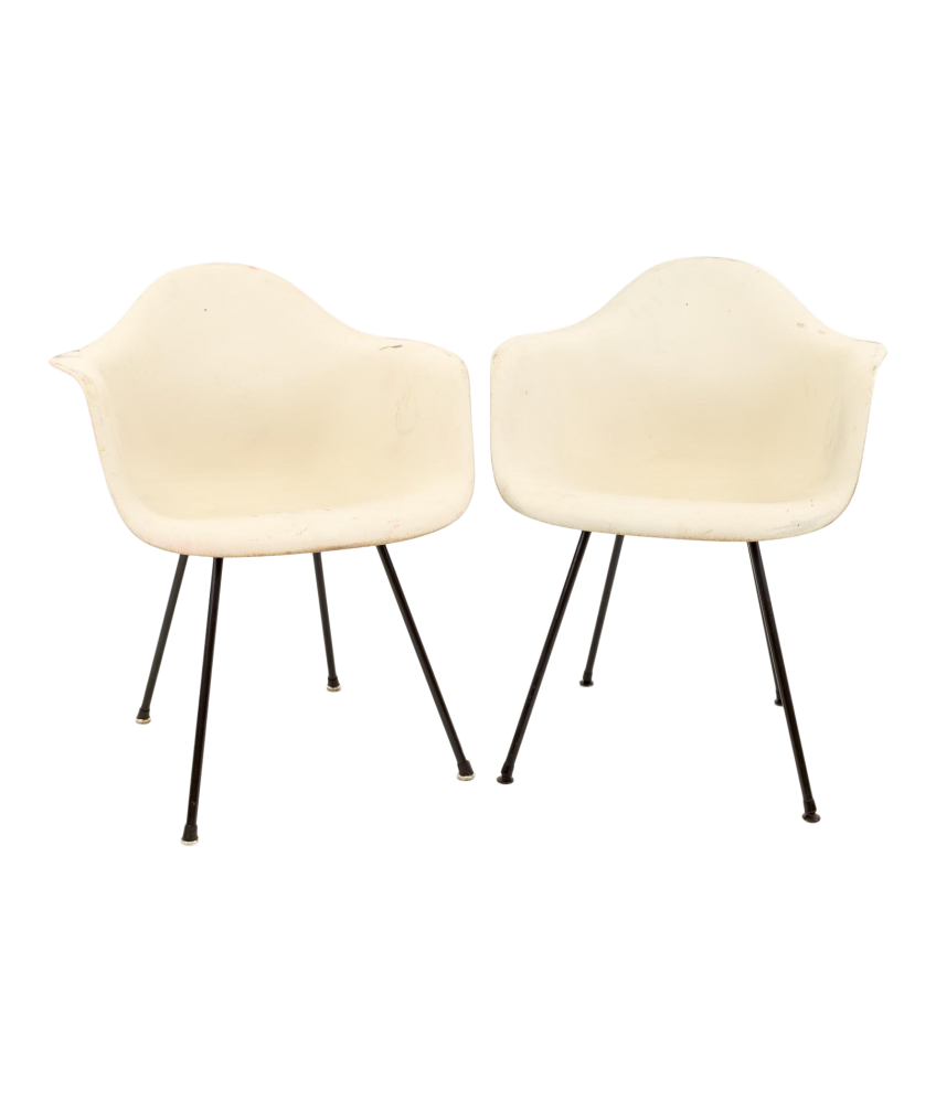 Eames for Herman Miller Molded Plastic X-Base Shell Chairs - Pair
