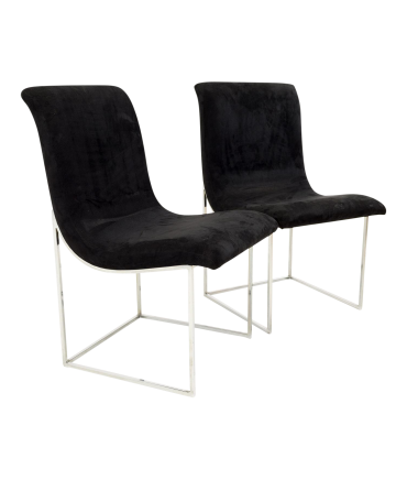 Milo Baughman for Directional Mid Century Black Velvet Chrome Base Lounge Chairs