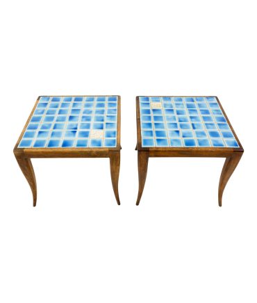 Mid Century Italian Style Blue Mosaic Side End Tables