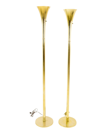 Laurel Torchiere Mid Century Modern Floor Lamps - Pair