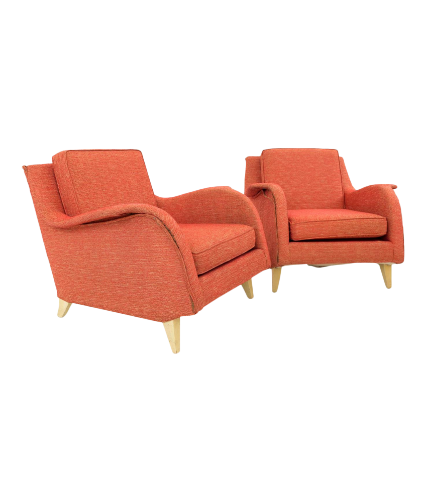 Mid Century Modern Red Lounge Chairs - Pair