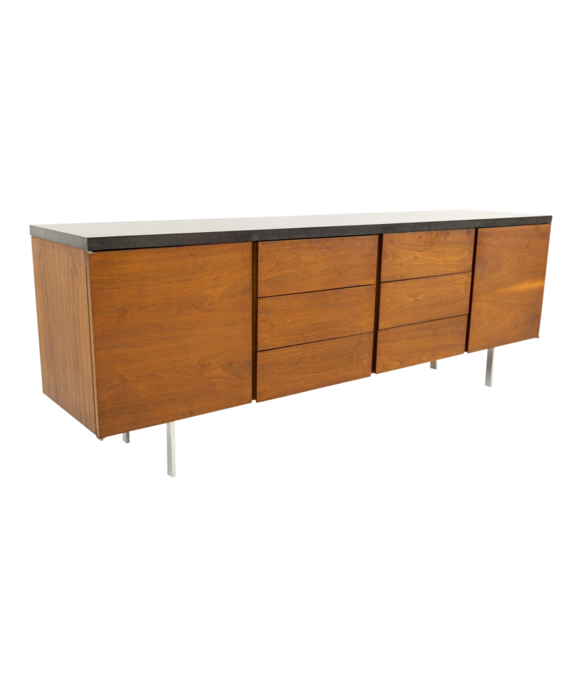 Florence Knoll Style Slate Top Walnut Mid Century Credenza Media Cabinet Console
