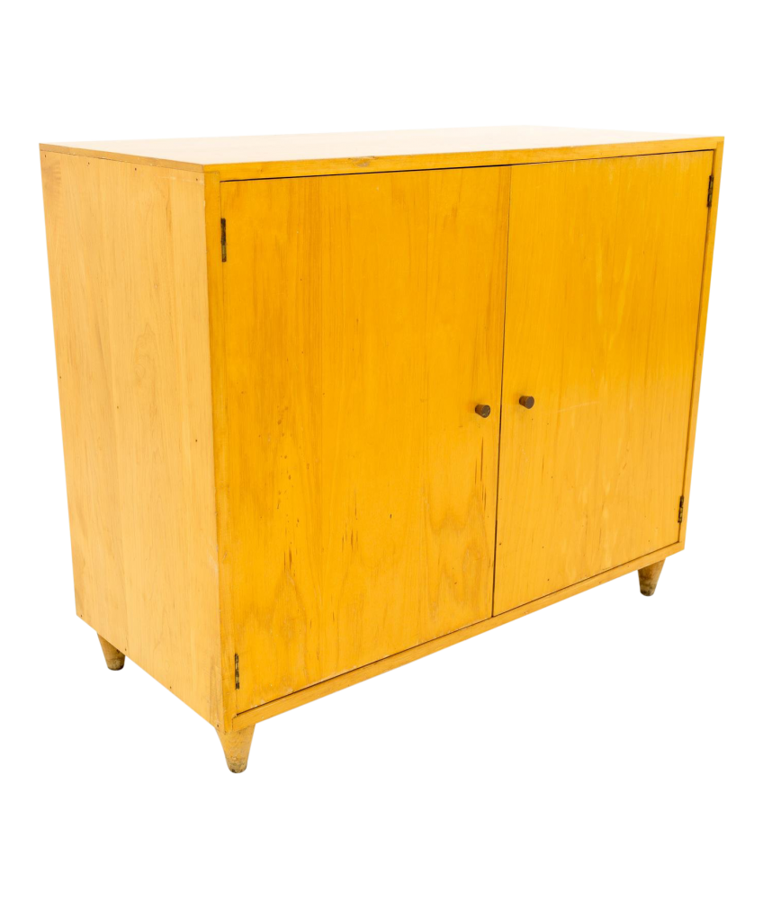 Paul McCobb Style Small Mid Century Blonde Credenza Media Cabinet