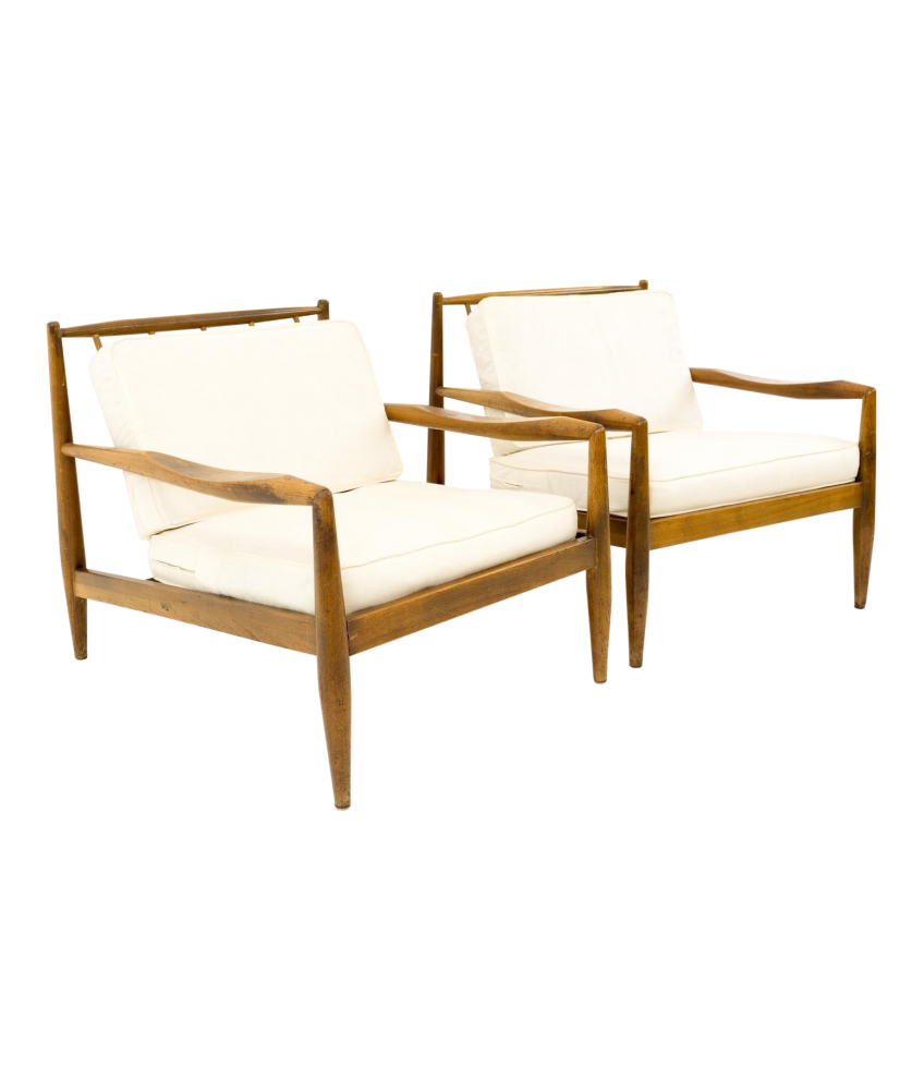 Adrian Pearsall for Craft Associates Model 843-C Mid Century Lounge Chairs - Matching Pair