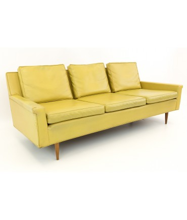 Thayer Coggin Mid Century Yellow Vinyl Sofa