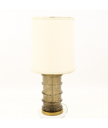 Paul Hanson Brass and Glass Mid Century Bubble Table Lamp - Grey