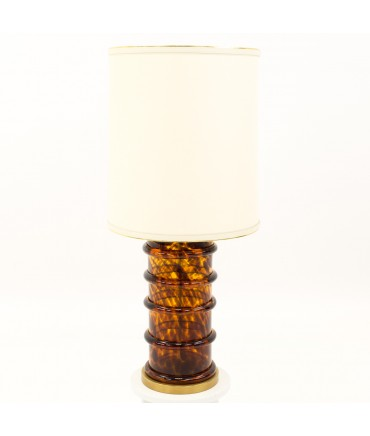 Paul Hanson Brass and Glass Mid Century Bubble Table Lamp - Burl