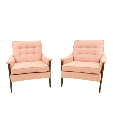 Harvey Probber Style Pink Patterned Upholstered Mid Century Lounge Chairs