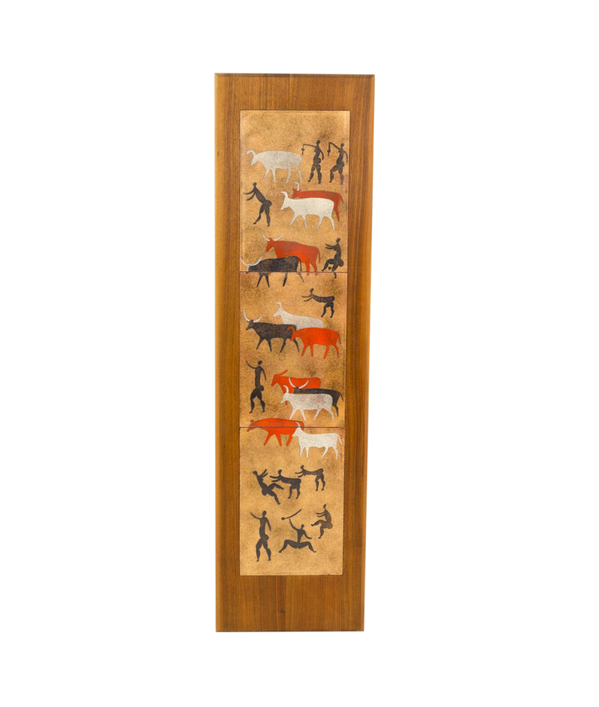 Harris G Strong Style Copper and Wood Ancient Cave Painting Wall Art