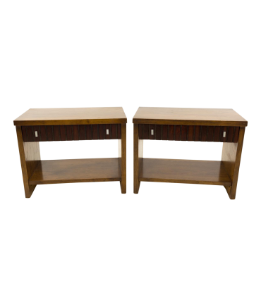 Lane 1 Drawer Walnut and Rosewood Mid Century Side End Tables Nightstands - Matching Pair