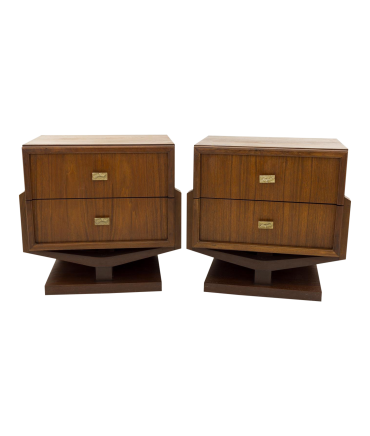 Paul Evans Style Brutalist Pedestal Base 2 Drawer Walnut Mid Century Nightstands - Matching Pair