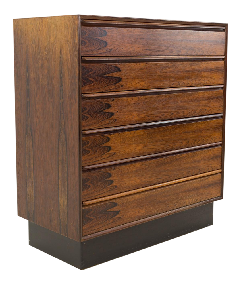 Westnofa 6 Drawer Mid Century Rosewood Highboy Chest of Drawers