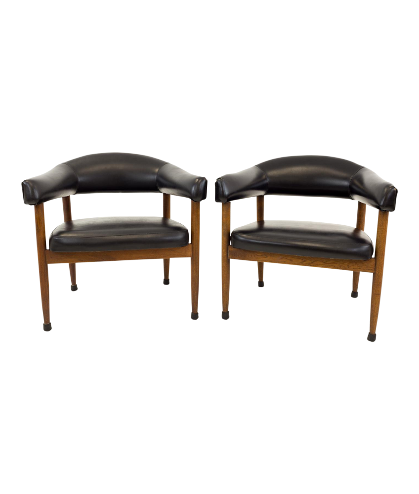 Arne Vodder Kodawood Style Mid Century Dining Occasional Chairs - Matching Pair