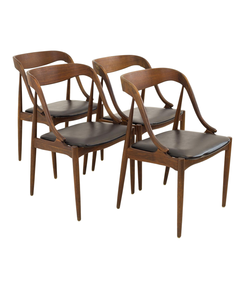 Johannes Anderson for Richbilt Mid Century Modern Teak Danish Dining Chairs - Set of 4