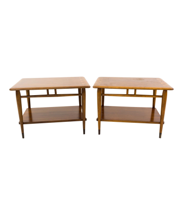 Lane Acclaim 2-Tier Walnut Mid Century Side End Tables - Matching Pair