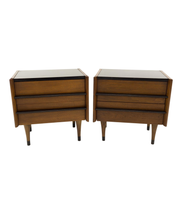American of Martinsville Mid Century Walnut and Formica Nightstands - Matching Pair
