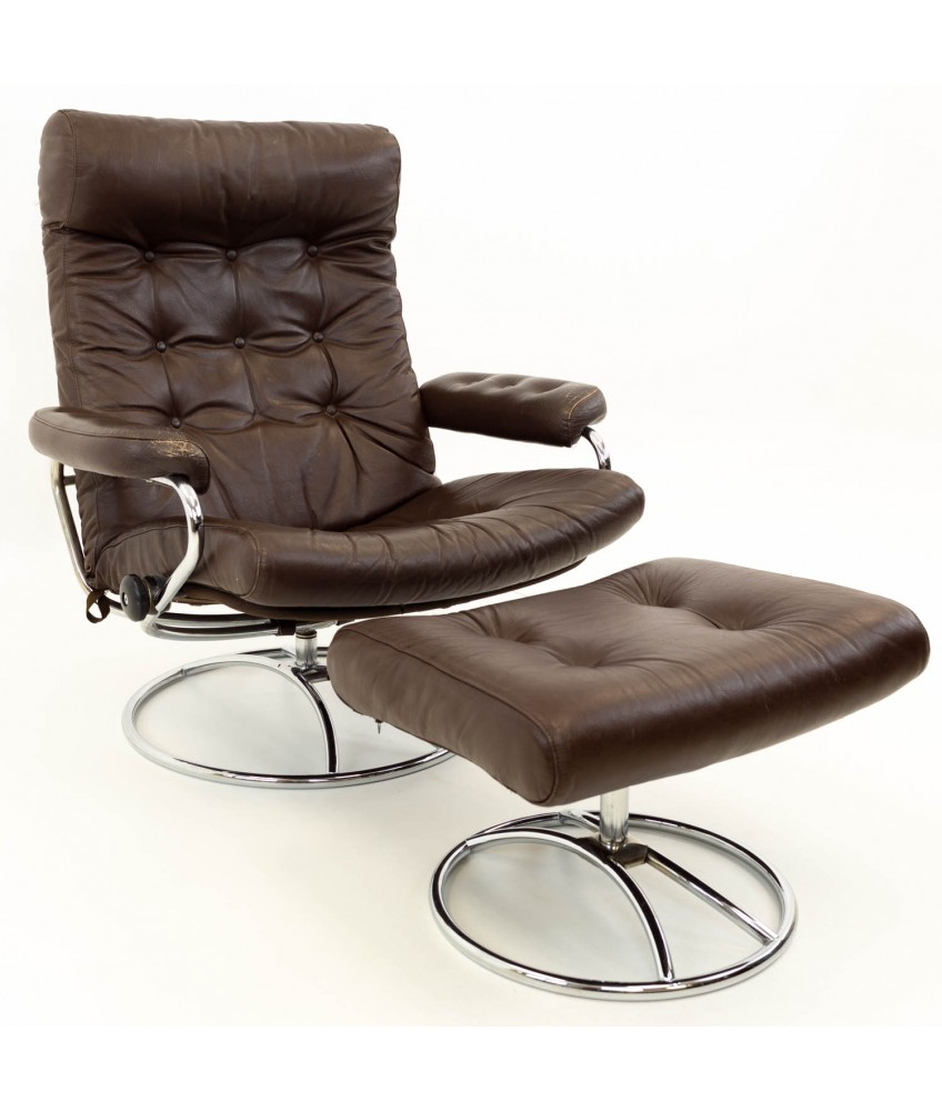 Peachy Ekornes Stressless Reclining Swivel Brown Leather Mid Century Modern Lounge Chair Ottoman Pabps2019 Chair Design Images Pabps2019Com