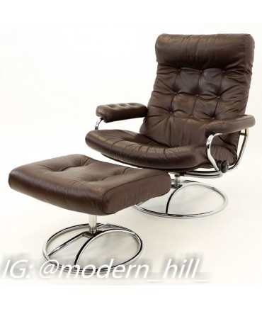 Terrific Ekornes Stressless Reclining Swivel Brown Leather Mid Century Modern Lounge Chair Ottoman Home Interior And Landscaping Mentranervesignezvosmurscom