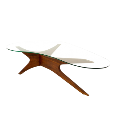 Adrian Pearsall Sculptural Walnut Kidney Shaped Mid Century Modern Coffee Table