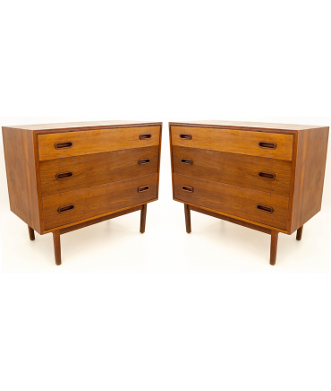 Jack Cartwright for Founders Mid Century Modern Danish Style 3 Drawer Chest of Drawers - Matching Pair