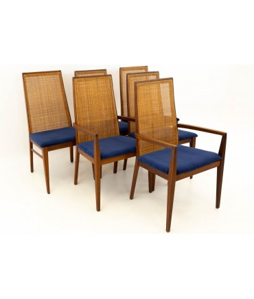 Dillingham Esprit Caned Back Mid Century Modern Dining Chairs - Set of 6