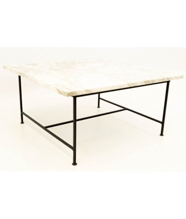 Paul McCobb Style Mid Century Modern Marble and Iron Square Coffee Table