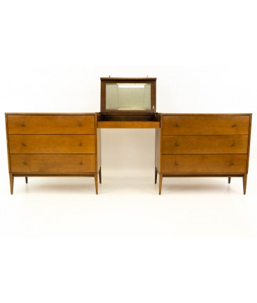 "3 Piece Paul McCobb for Planner Group Mid Century Vanity & 2 36"" Chest of Drawers"