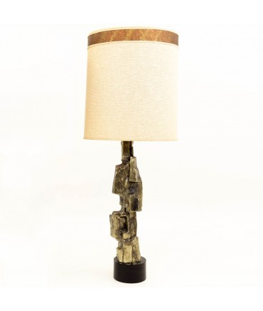 Maurizio Tempestini for Laurel Tall Brutalist Bronze Mid Century Table Lamp with Original Shade