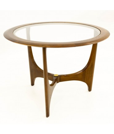 Adrian Pearsall for Lane Mid Century Walnut & Glass Sculptural Round Side End Table