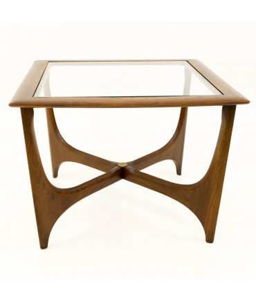 Adrian Pearsall for Lane Mid Century Walnut & Glass Sculptural Square Side End Table