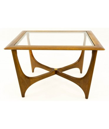 Adrian Pearsall for Lane Mid Century Walnut & Glass Sculptural Side End Table