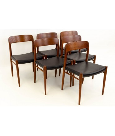 Niels Moller No. 75 Mid Century Modern Dining Chairs - Set of 6